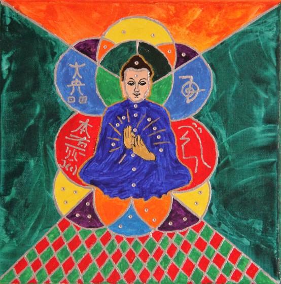 Reiki-Meditation, 30x30cm, Leinwand, Acrylfarbe und Encaustic