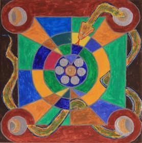 Schlangenmandala, 30x30 cm, Leinwand, Acrylfarbe und Encaustic